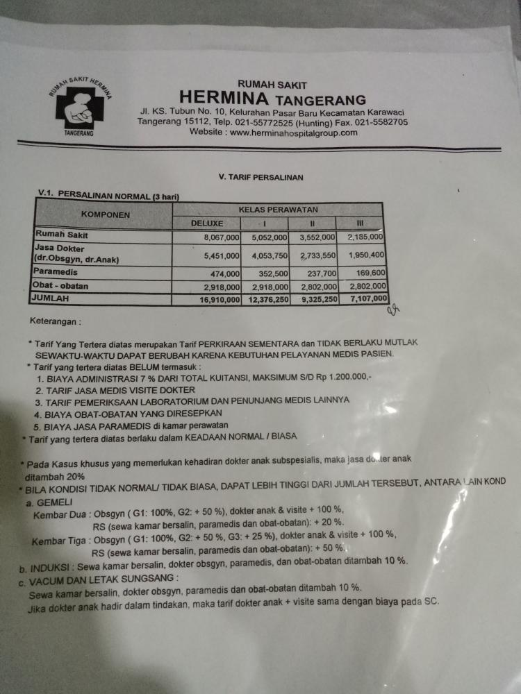 Bunda, mohon infonya untuk biaya persalinan normal di rs ...